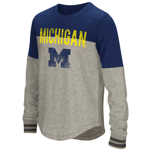 Michigan Girls Baton Long Sleeve Tee - Navy/Grey