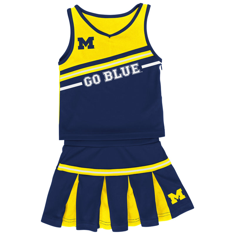 Go Blue University of Michigan Infant Girls Curling Cheer Set - Navy