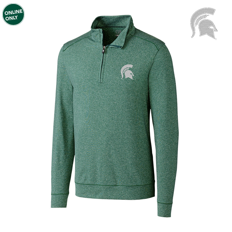Michigan State University Spartan Logo Cutter & Buck Big & Tall Shoreline Half Zip - Hunter Heather