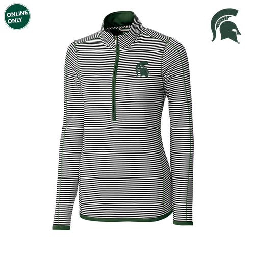 Michigan State University Spartan Logo Cutter & Buck DryTec Women's Long Sleeve 3/4 Zip Trevor Stripe - Hunter