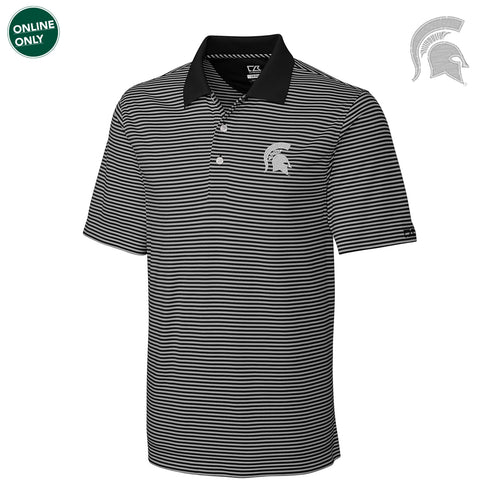 Michigan State University Spartan Logo Cutter & Buck Big & Tall DryTec Trevor Stripe Polo - Black/Oxide