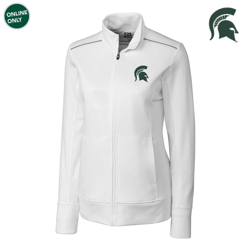 Primary Logo Michigan State Cutter & Buck Ladies Ridge Full Zip - White