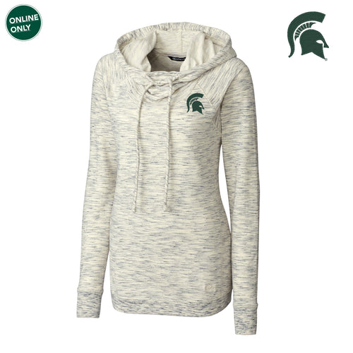 Michigan State University Spartan Logo Cutter & Buck Women's Long Sleeve Tie Breaker Hoodie - Snow White