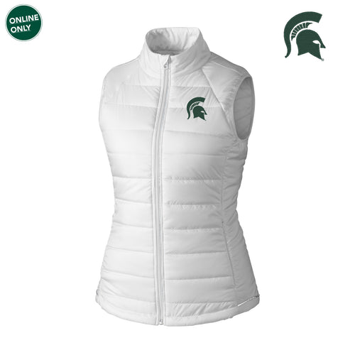 Michigan State University Spartan Logo Cutter & Buck Women's Post Alley Vest - White