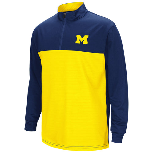University of Michigan Colosseum Youth Setter 1/4 Zip Windshirt - Navy/Maize