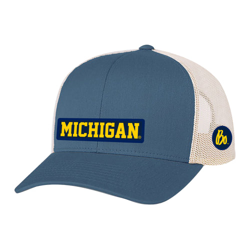 Block Michigan Bo Sig Patch University of Michigan Pacific Headwear Trucker Snapback - Ocean Blue/Beige