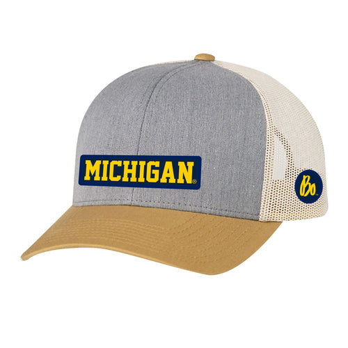 Block Michigan Bo Sig Patch University of Michigan Pacific Headwear Trucker Snapback - Grey/Amber/Beige