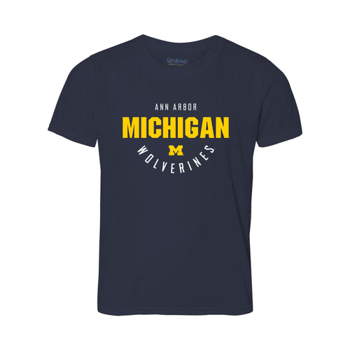 Inverted Arch University of Michigan Gildan Youth Performance T Shirt - Navy