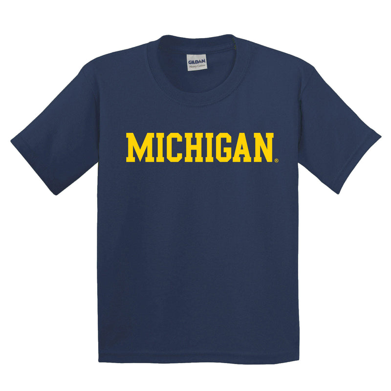 Basic Block University of Michigan Basic Cotton Short Sleeve Youth T Shirt - Navy