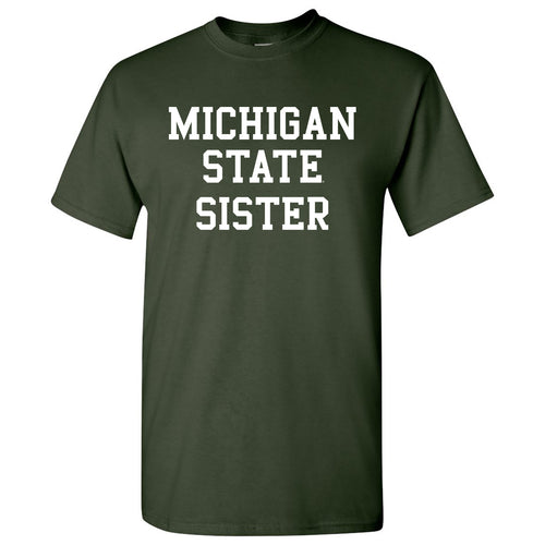 Michigan State University Spartans Basic Block Sister Next Level Short Sleeve T Shirt - Forest Green