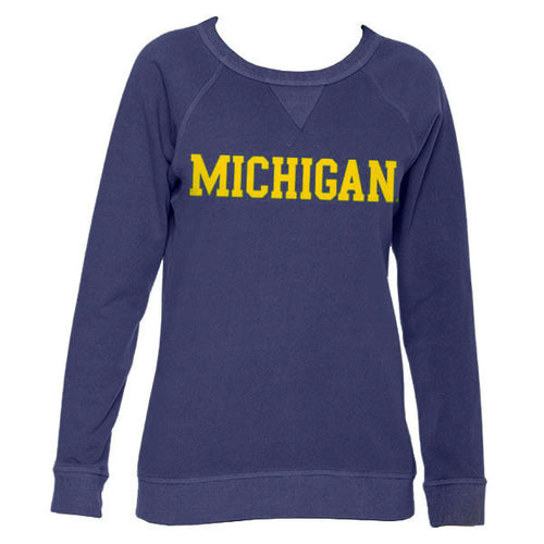 Basic Block University of Michigan Authentic Pigment Womens French Terry Crew - Denim