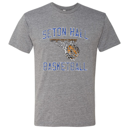 Seton Hall University Pirates Retro Basketball Short Sleeve T Shirt - Premium Heather