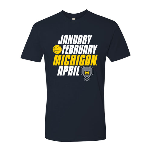 Month of Michigan Basketball University of Michigan Next Level Premium Cotton Short Sleeve T-Shirt - Midnight Navy