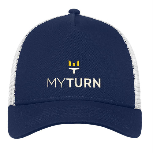 My Turn New Era® Snapback Trucker Cap - Deep Navy/White