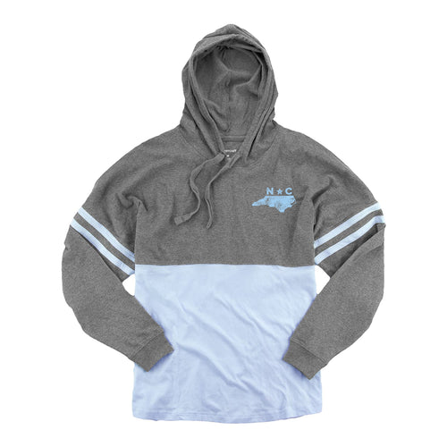 North Carolina Silhouette Left Chest Womens Hooded Pom Jersey - Graphite/Carolina Blue