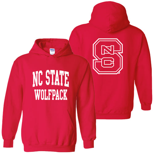 NC State Front Back Print Hoodie - Red