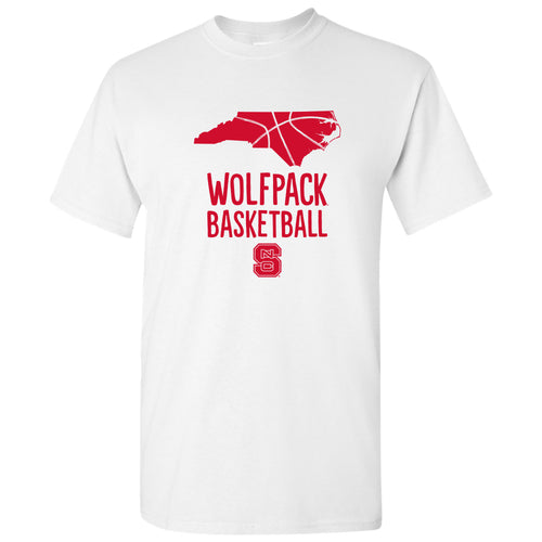 North Carolina State University Wolfpack Basketball Brush State Short Sleeve T Shirt - White