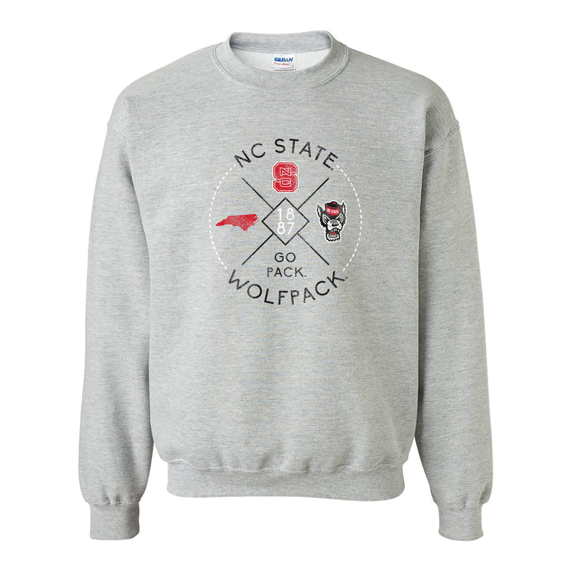 North Carolina State University Wolfpack Identity Stamp Crewneck - Sport Grey