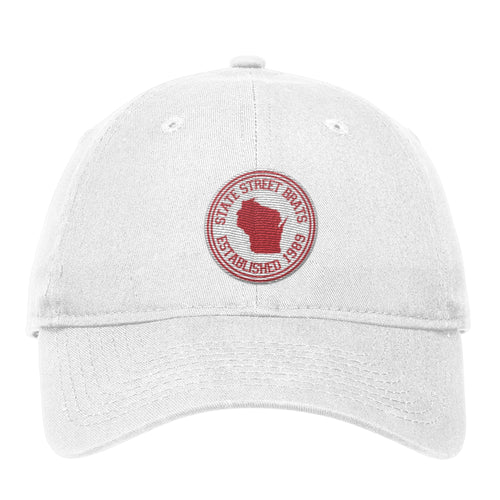 State Street Brats Circle Logo Unstructured Adjustable Hat - White