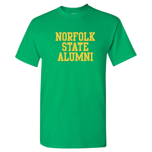 Norfolk State University Spartans Alumni Basic Block Short Sleeve T Shirt - Irish Green