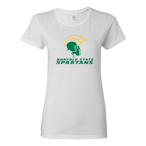Norfolk State University Spartans Primary Logo Womens Short Sleeve T Shirt - White
