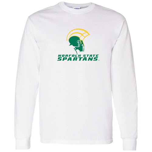 Norfolk State University Spartans Primary Logo Long Sleeve T Shirt - White