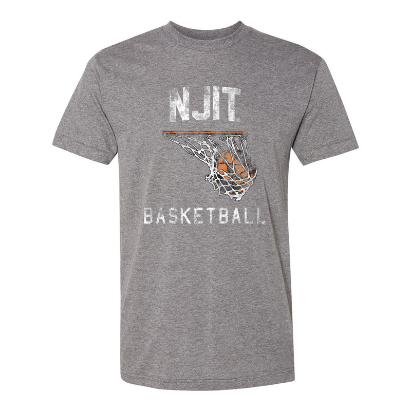New Jersey Institute of Technology Highlanders Retro Basketball Hoop American Apparel Short Sleeve T Shirt - Athletic Grey