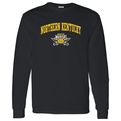 Northern Kentucky University Norse Arch Logo Long Sleeve T Shirt - Black