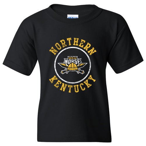 Northern Kentucky University Norse Distressed Circle Logo Youth Short Sleeve T Shirt - Black