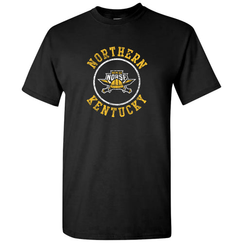 Northern Kentucky University Norse Distressed Circle Logo Short Sleeve T Shirt - Black