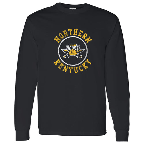 Northern Kentucky University Norse Distressed Circle Logo Long Sleeve T Shirt - Black