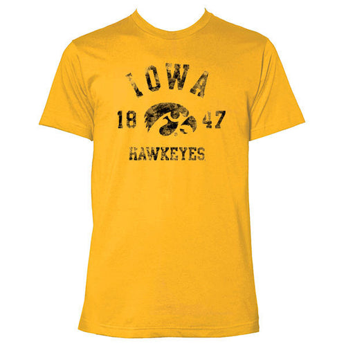 University of Iowa Hawkeyes Arch Logo 1847 American Apparel Short Sleeve T Shirt - Gold