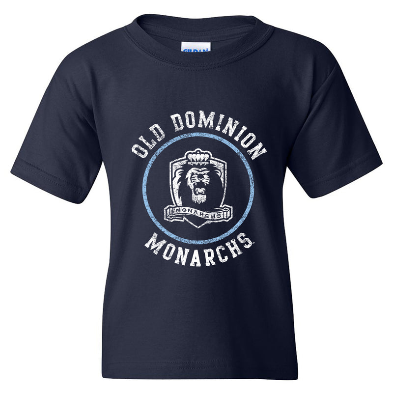 Old Dominion University Monarchs Distressed Circle Logo Heavy Cotton Youth T Shirt - Navy