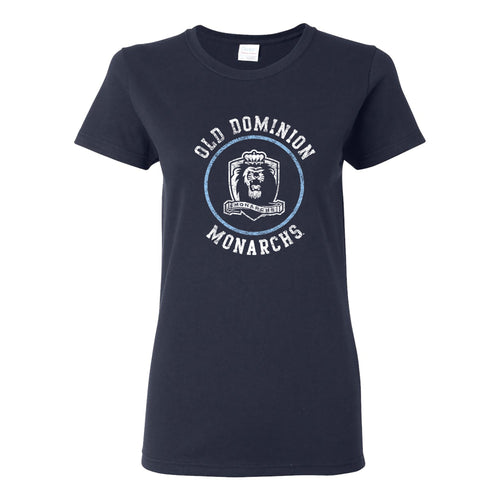 Old Dominion University Monarchs Distressed Circle Logo Basic Cotton Womens Short Sleeve T Shirt - Navy