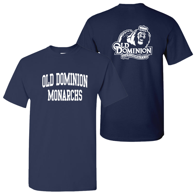 Old Dominion University Monarchs Front Back Print Short Sleeve T Shirt - Navy