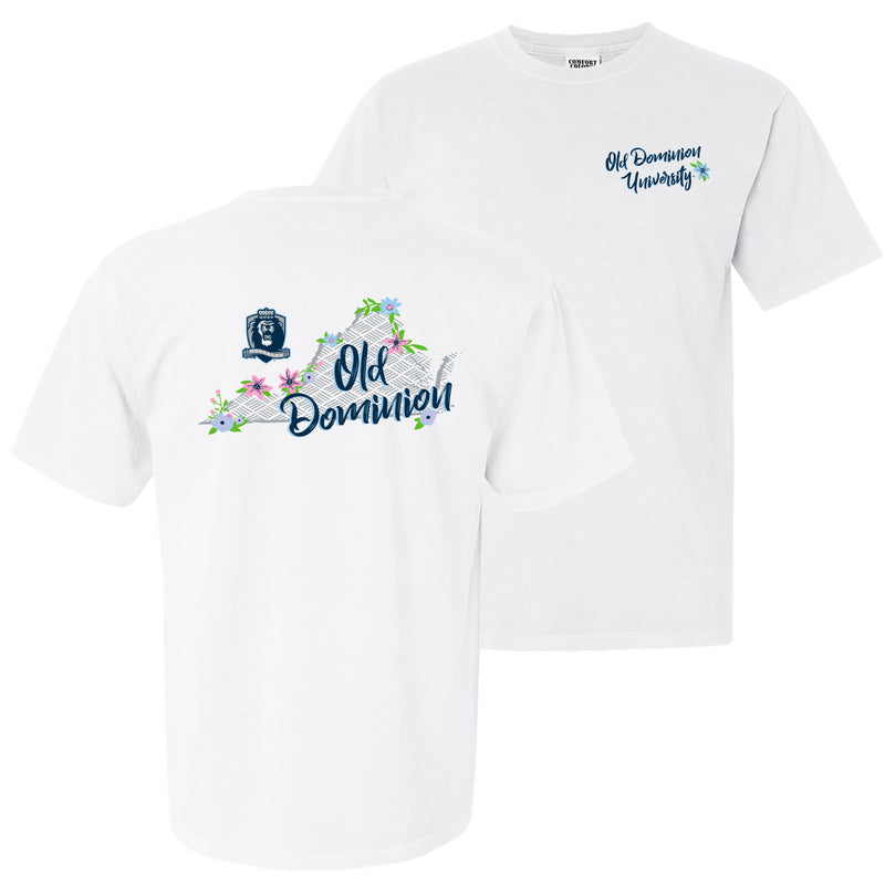 Old Dominion University Monarchs Floral State Comfort Colors Short Sleeve T Shirt - White