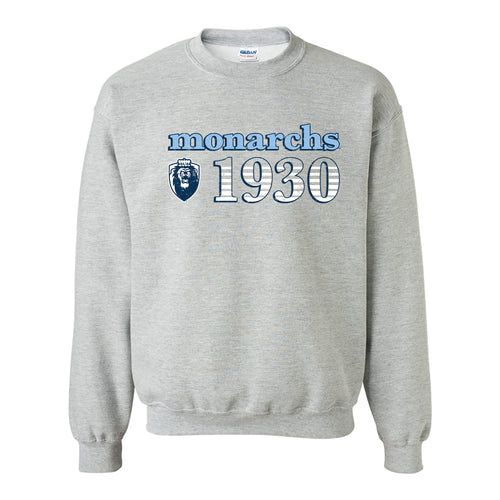 Old Dominion University Monarchs Throwback Year Stripe Heavy Blend Crewneck - Sport Grey