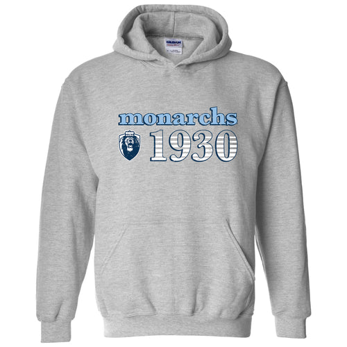Old Dominion University Monarchs Throwback Year Stripe Heavy Blend Hoodie - Sport Grey
