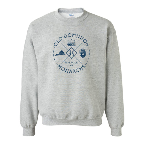 Old Dominion University Monarchs Identity Stamp Heavy Blend Crewneck Sweatshirt - Sport Grey