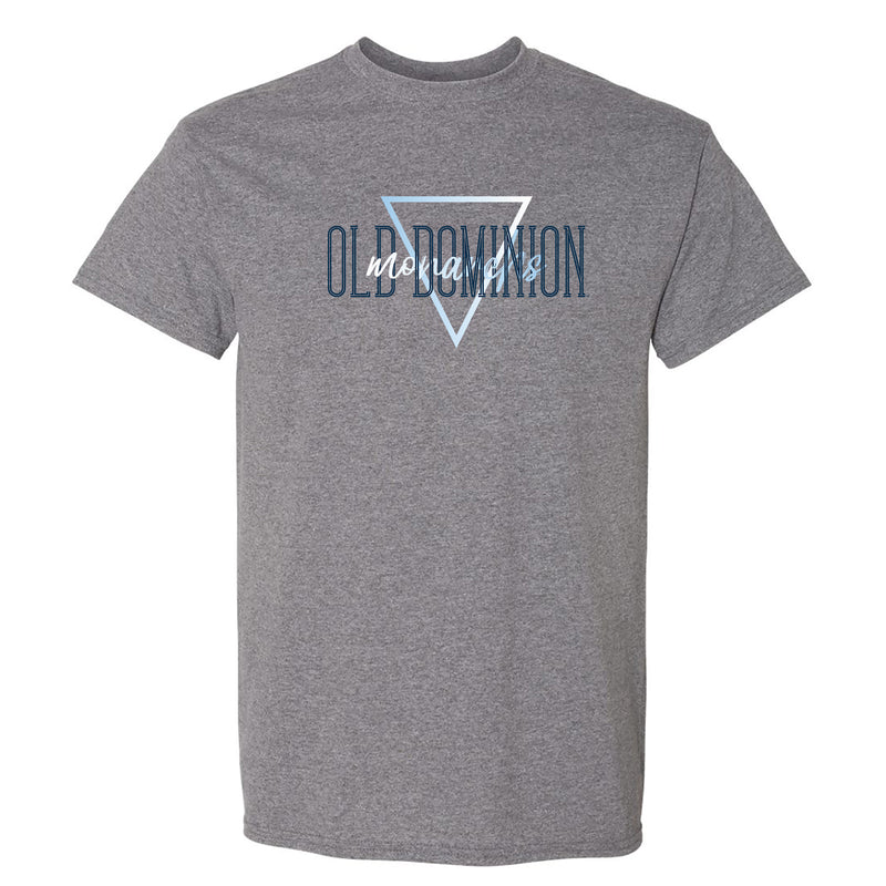 Old Dominion University Monarchs Gradient Triangle Basic Cotton Short Sleeve T Shirt - Graphite Heather
