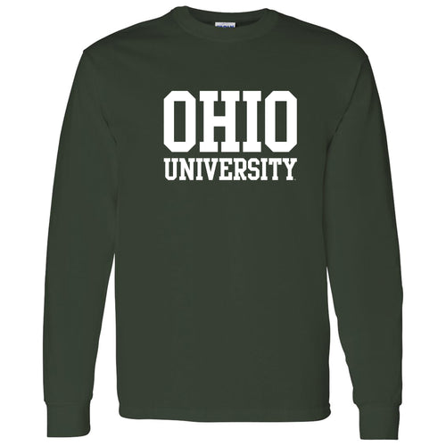 Ohio University Bobcats Basic Block Long Sleeve T Shirt - Forest