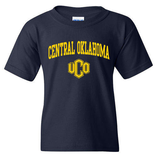 Central Oklahoma University Bronchos Arch Logo Youth T Shirt - Navy