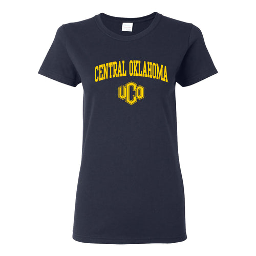 Central Oklahoma University Bronchos Arch Logo Womens Short Sleeve T Shirt - Navy