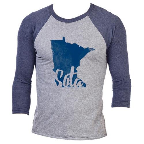 Sota Script Cutout 3/4 Sleeve Raglan - Premium Heather / Vintage Navy