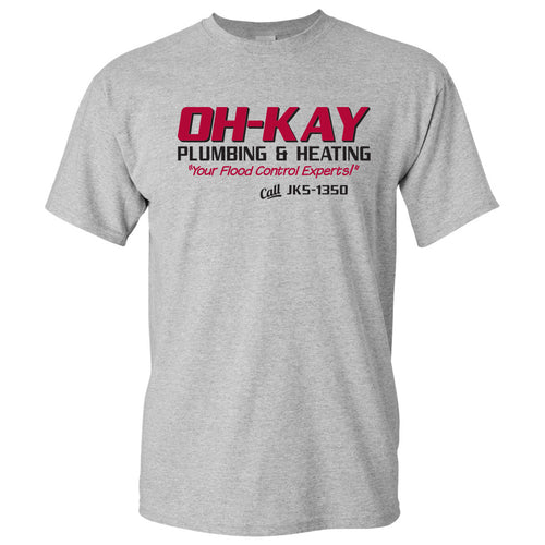 Oh-Kay Plumbing & Heating - Funny, Wet Bandits, Alone at Home, Christmas Movie T Shirt - Sports Grey