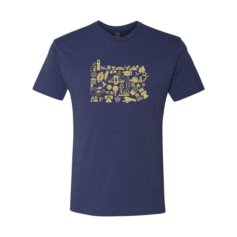 Pennsylvania State Shapes Short Sleeve T Shirt - Vintage Navy