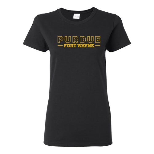 Purdue University Fort Wayne Mastodons Basic Block Womens Short Sleeve T Shirt - Black