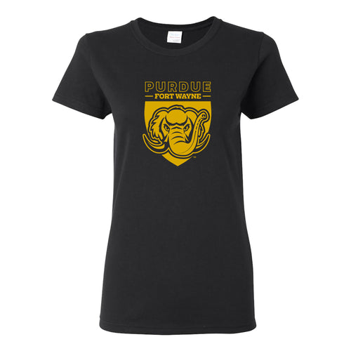 Purdue University Fort Wayne Mastodons Primary Logo Womens Short Sleeve T Shirt - Black