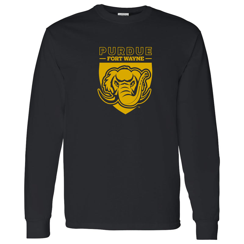 Purdue University Fort Wayne Mastodons Primary Logo Long Sleeve T Shirt - Black