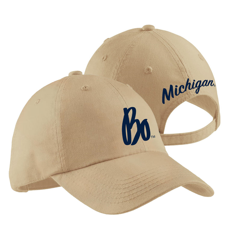 Bo Sig Script Michigan Ladies Garment-Washed Hat - Stone
